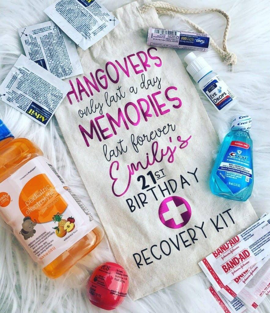 21st birthday hangover kit