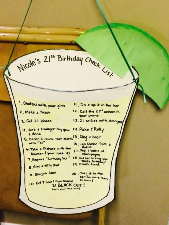 21st birthday bucket list